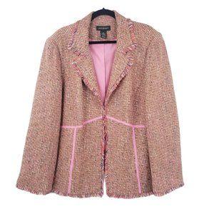 Lane Bryant Pink Brown Tweed Jacket